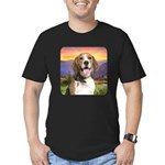 Beagle Meadow Men's Fitted T-Shirt (dark)