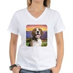 Beagle Meadow Women's V-Neck T-Shirt