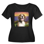 Beagle Meadow Women's Plus Size Scoop Neck Dark T-