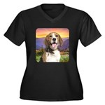 Beagle Meadow Women's Plus Size V-Neck Dark T-Shir