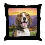Beagle Meadow Throw Pillow