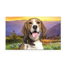 Beagle Meadow Rectangle Car Magnet
