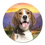 Beagle Meadow Round Car Magnet