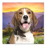 Beagle Meadow Square Car Magnet 3