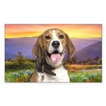 Beagle Meadow Sticker (Rectangle)
