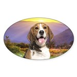Beagle Meadow Sticker (Oval 10 pk)