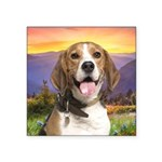 Beagle Meadow Square Sticker 3