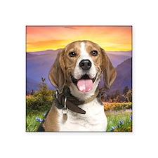 """Beagle Meadow Square Sticker 3"""" x 3"""""""