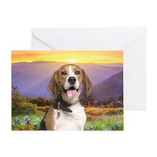 Beagle Meadow Greeting Card