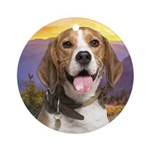 Beagle Meadow Ornament (Round)