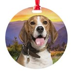 Beagle Meadow Round Ornament