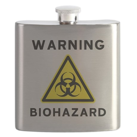 biohazard warning sign flask by sciencedoodles