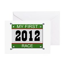 My First Race (Bib) - 2012 Greeting Cards (Pk of 2