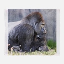 Gorilla in Thought Throw Blanket