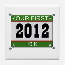 Our First 10K (Bib) - 2012 Tile Coaster