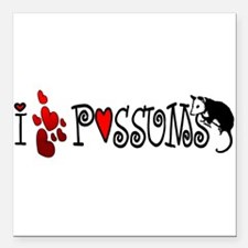 "lovepossums2.png Square Car Magnet 3"" x 3"""
