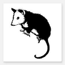 "possumsil2b.png Square Car Magnet 3"" x 3"""