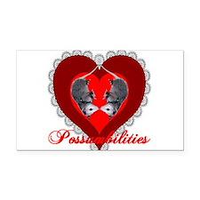 Possum Valentines Heart Rectangle Car Magnet