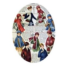 1910s Winter Scarves Ornament (Oval)