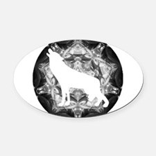 whtwolf.png Oval Car Magnet
