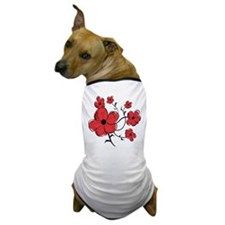 Modern Red and Black Floral Design Dog T-Shirt
