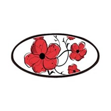 Modern Red and Black Floral Design Patches