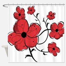 Modern Red and Black Floral Design Shower Curtain