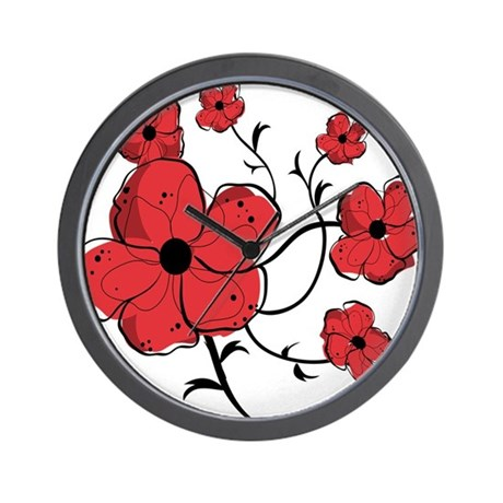 Modern red and black floral design wall clock by auslandgifts for Red and black wall clock