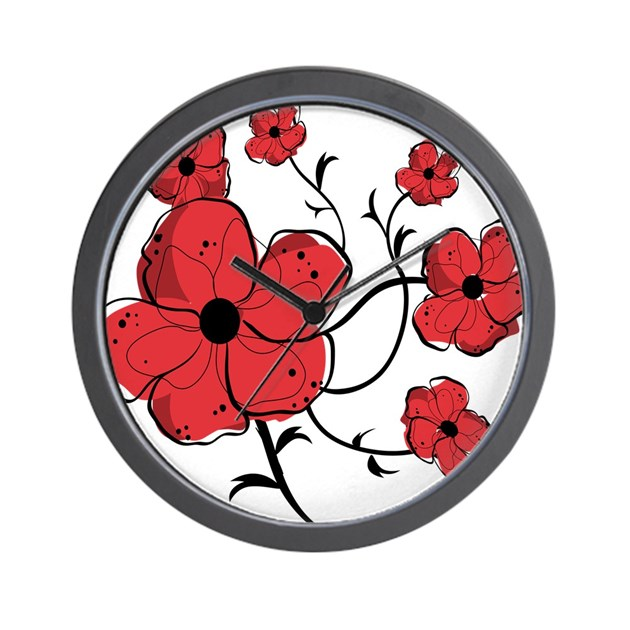 Wall Clock Floral Design : Modern red and black floral design wall clock by auslandgifts
