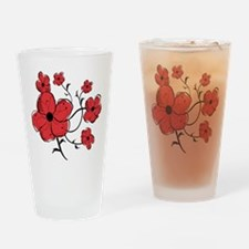 Modern Red and Black Floral Design Drinking Glass