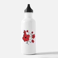 Modern Red and Black Floral Design Water Bottle