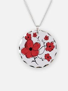 Modern Red and Black Floral Design Necklace