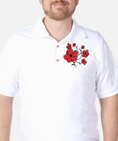 Modern Red and Black Floral Design T-Shirt
