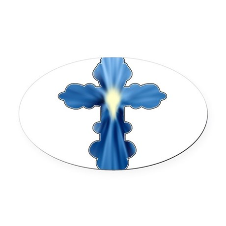 cross33a.png Oval Car Magnet