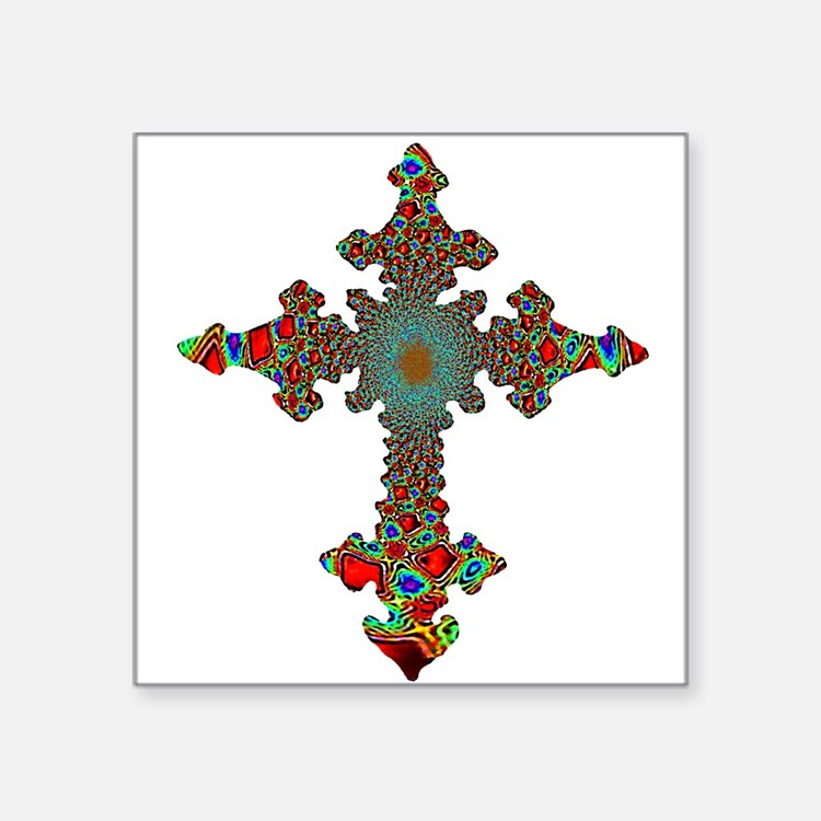 "cross24c.png Square Sticker 3"" x 3"""