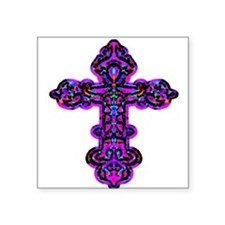 "cross26e.png Square Sticker 3"" x 3"""