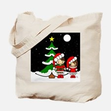 Christmas brunette couple at night Tote Bag