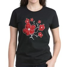 Modern Red and white Floral Design Tee