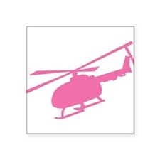 Pink Helicopter Oval Sticker