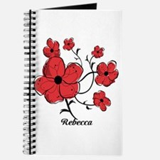 Personalized Modern Red and Black Floral Design Jo