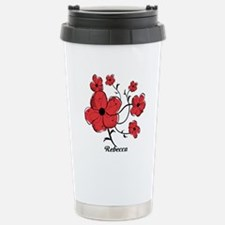 Personalized Modern Red and Black Floral Design Ce