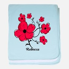 Personalized Modern Red and Black Floral Design ba