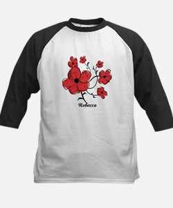 Personalized Modern Red and Black Floral Design Ki