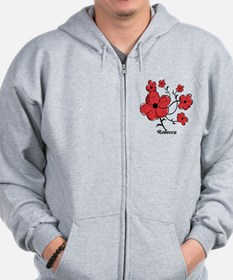 Personalized Modern Red and Black Floral Design Zi