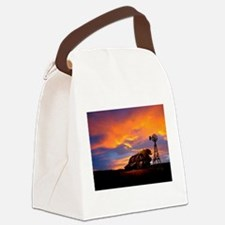 He Is Watching Barn Sunset Canvas Lunch Bag