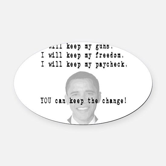 keepchange3.png Oval Car Magnet