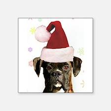 """Christmas Boxer Dog Square Sticker 3"""" x 3"""""""