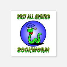 "bookworm.png Square Sticker 3"" x 3"""