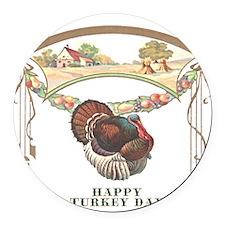 turkey3blk.png Round Car Magnet
