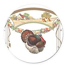 turkeyblk.png Round Car Magnet
